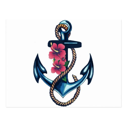 Anchor and Flowers Post Cards