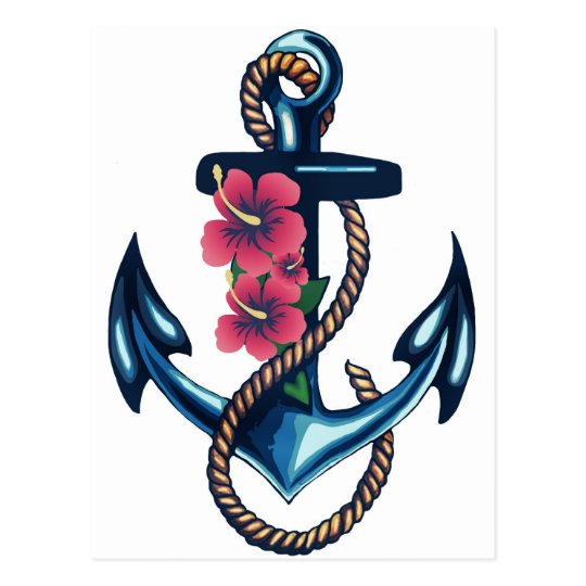 Anchor and Flowers Postcard