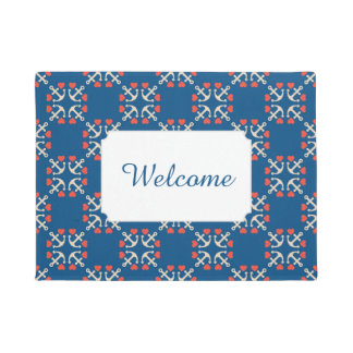 Anchor And Heart Pattern | Add Your Text Doormat