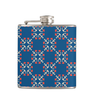 Anchor And Heart Pattern Flasks
