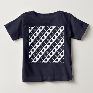 Anchor and heart pattern on custom background baby T-Shirt