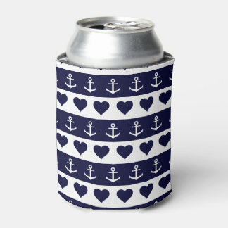 Anchor and heart pattern on custom background can cooler
