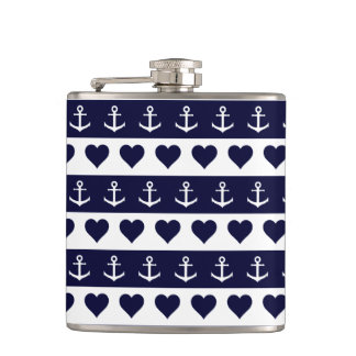 Anchor and heart pattern on custom background flask