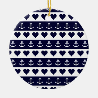 Anchor and heart pattern on custom background round ceramic decoration