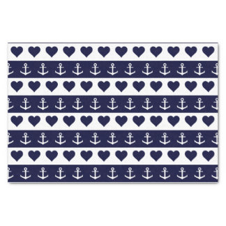 Anchor and heart pattern on custom background tissue paper