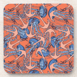 Anchor And Jellyfish Pattern Drink Coaster