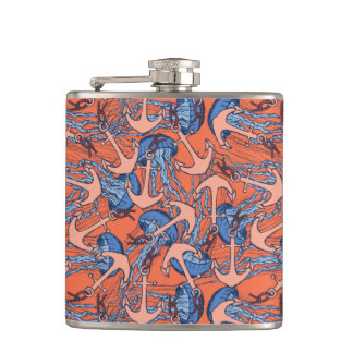 Anchor And Jellyfish Pattern Flasks