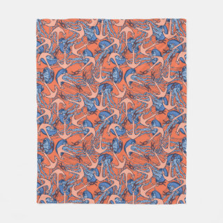 Anchor And Jellyfish Pattern Fleece Blanket