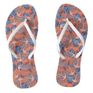 Anchor And Jellyfish Pattern Flip Flops