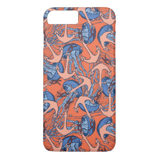 Anchor And Jellyfish Pattern iPhone 8 Plus/7 Plus Case