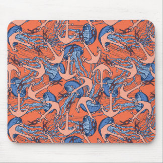 Anchor And Jellyfish Pattern Mouse Mat