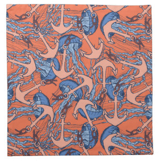Anchor And Jellyfish Pattern Napkin