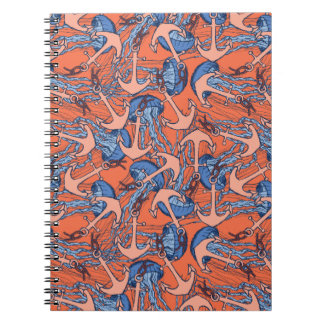 Anchor And Jellyfish Pattern Spiral Notebook