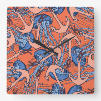 Anchor And Jellyfish Pattern Square Wall Clock