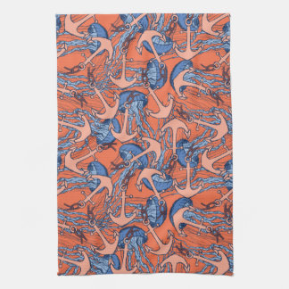 Anchor And Jellyfish Pattern Tea Towel