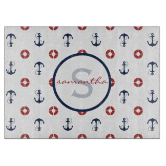 Anchor and Life Ring Pattern Nautical Monogram Cutting Board