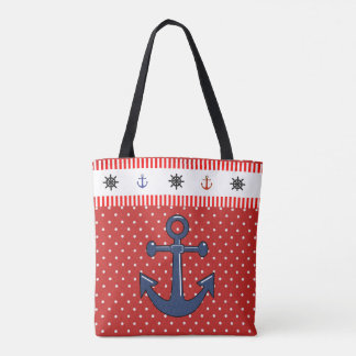 Anchor and Lobster Beach Bag with anchors