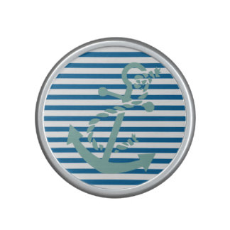 Anchor and Rope Blue and White Horizontal Stripe Speaker