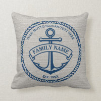 Anchor and Rope Family/Boat Logo Linen-Look Pillow