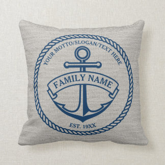 Anchor and Rope Family/Boat Logo Linen-Look Pillow Throw Cushion