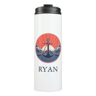 Anchor And Sea Wave Pattern | Add Your Name Thermal Tumbler