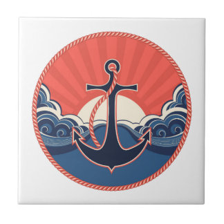 Anchor And Sea Wave Pattern Tile
