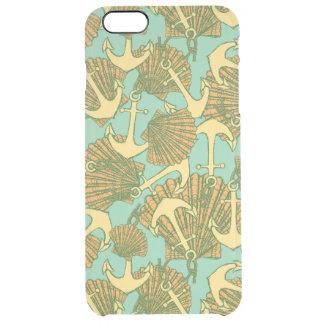 Anchor And Shells In Vintage Style Pattern Clear iPhone 6 Plus Case