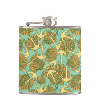 Anchor And Shells In Vintage Style Pattern Flask