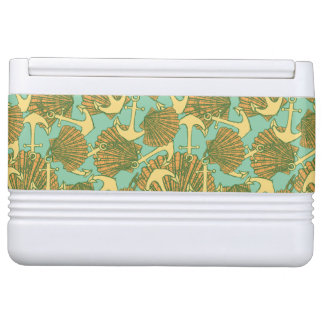 Anchor And Shells In Vintage Style Pattern Igloo Cooler