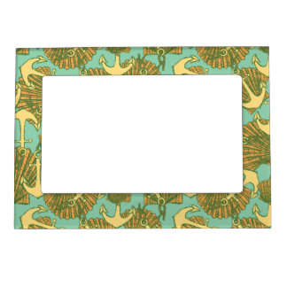 Anchor And Shells In Vintage Style Pattern Magnetic Frame