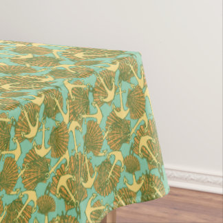 Anchor And Shells In Vintage Style Pattern Tablecloth