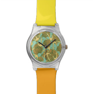 Anchor And Shells In Vintage Style Pattern Watch