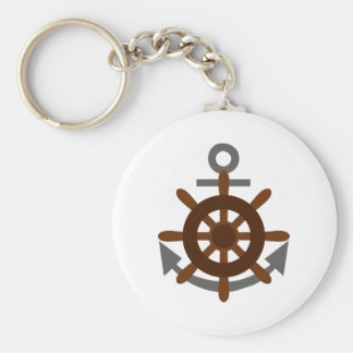 ANCHOR AND SHIPS WHEEL BASIC ROUND BUTTON KEY RING