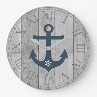 Anchor and ships wheel rustic wood roman numerals wall clocks
