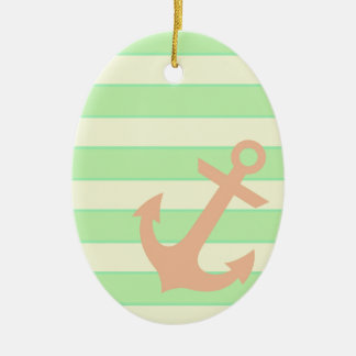 Anchor and Stripes Ceramic Oval Decoration