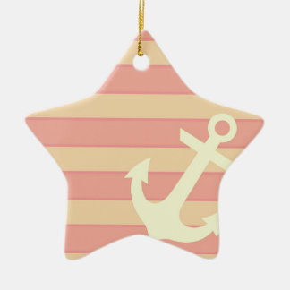 Anchor and Stripes Ceramic Star Decoration