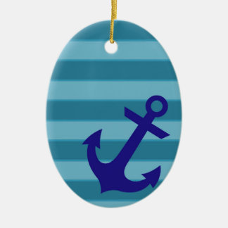 Anchor and Stripes Christmas Ornament
