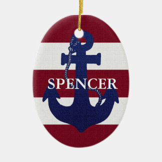 Anchor and stripes custom ornament