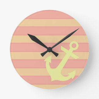 Anchor and Stripes Round Clock