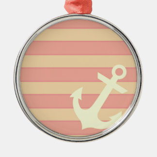 Anchor and Stripes Silver-Colored Round Decoration