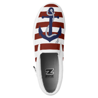 Anchor and Stripes Slip-On Shoes