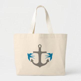 Anchor and Swallows Large Tote Bag