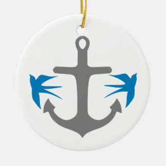 Anchor and Swallows Round Ceramic Decoration