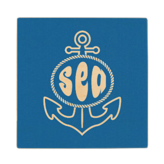 Anchor And The Sea Maple Wood Coaster