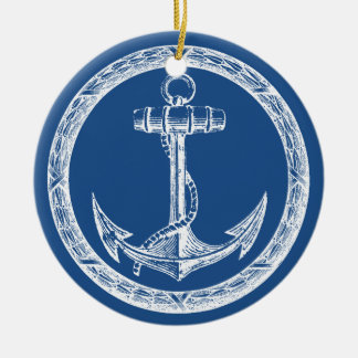 Anchor and Wreath Christmas Ornament