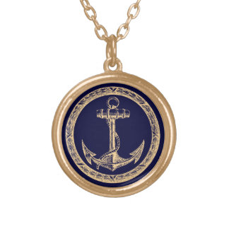 Anchor and Wreath Round Pendant Necklace
