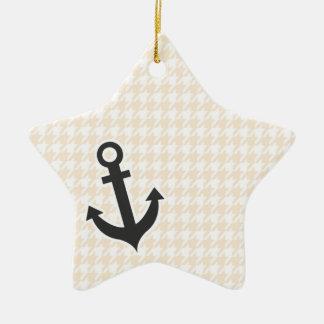 Anchor; Antique White Houndstooth Ceramic Star Decoration