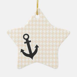 Anchor Antique White Houndstooth Christmas Ornament