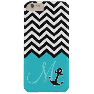 Anchor Aqua Blue Chevron Pattern Stylish Monogram Barely There iPhone 6 Plus Case