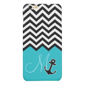Anchor Aqua Blue Chevron Pattern Stylish Monogram iPhone 6 Plus Case